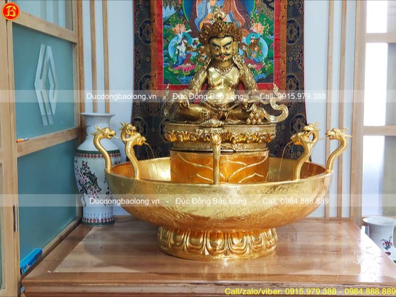 Chậu tắm Phật Cửu Long gò chạm thủ công dát vàng