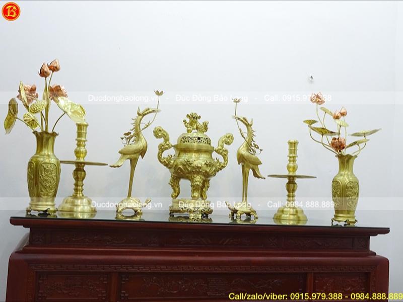 Bộ Ngũ sự Rồng nổi 70cm và Đôi Lọ hoa Tứ Quý 50cm
