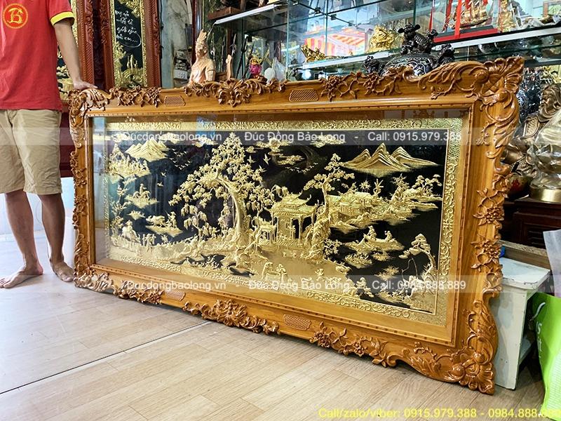 Tranh Đồng Quê Mạ vàng 1m76 x 89cm khung gỗ gõ đỏ
