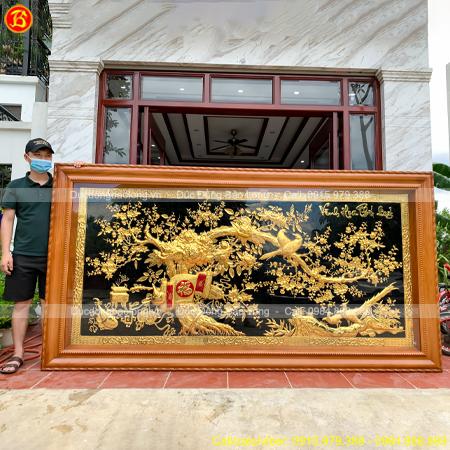 Lắp đặt tranh Vinh Hoa Phú Quý Mạ vàng 2m86 x 1m5