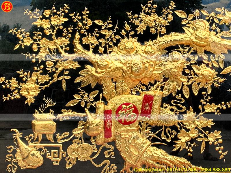 tranh vinh hoa phú quý mạ vàng 2m86