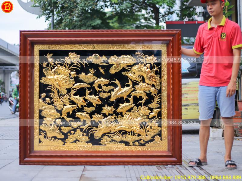 tranh Cá Chép Hoa Sen 1m4 x 1m7 Mạ vàng