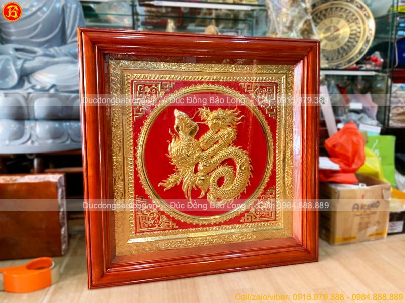 Tranh Chữ Phúc Hóa Long Phụng Mạ Vàng 81cm khung gỗ