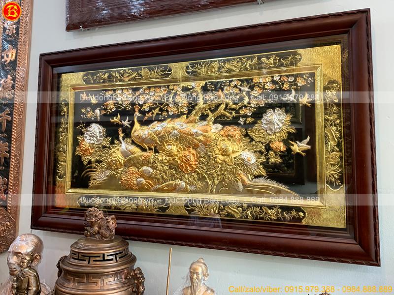 Tranh Công Mai 1m55 x 88cm Mạ Vàng Dát Bạc