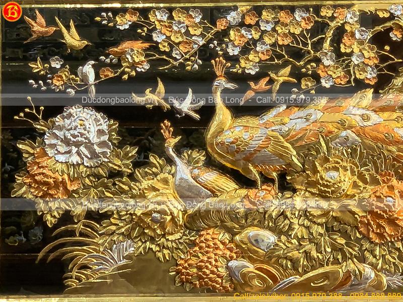tranh Công Mai 1m55 x 88cm dát vàng dát bạc