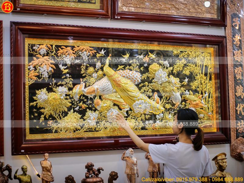 tranh Công Mai 2m17 x 1m07 mạ vàng mạ bạc