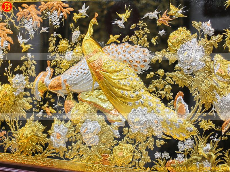 Tranh Công Mai 2m17 x 1m07 Mạ Vàng Mạ Bạc Cao Cấp