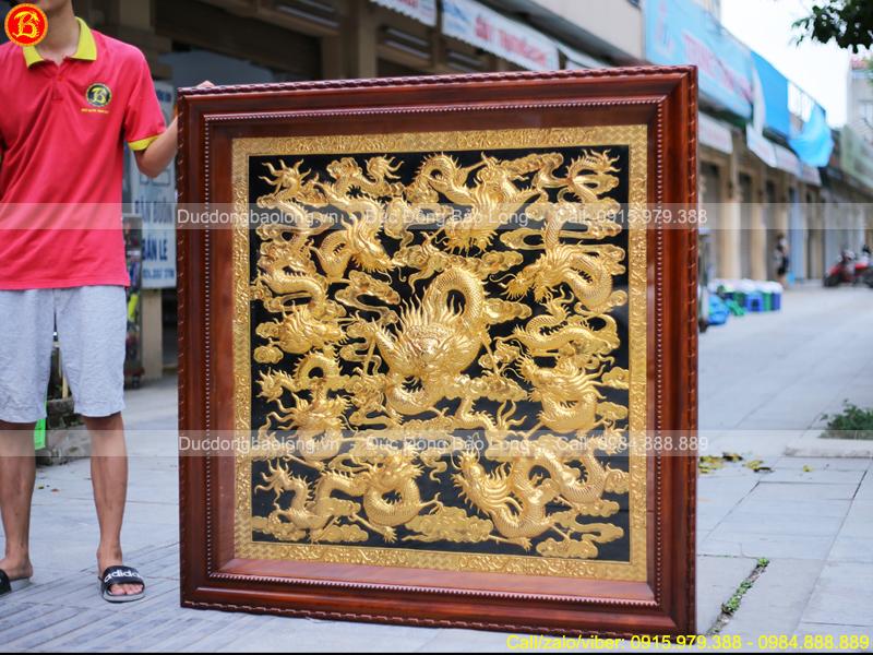 tranh Cửu Long Quần Hội 1m33 Mạ vàng