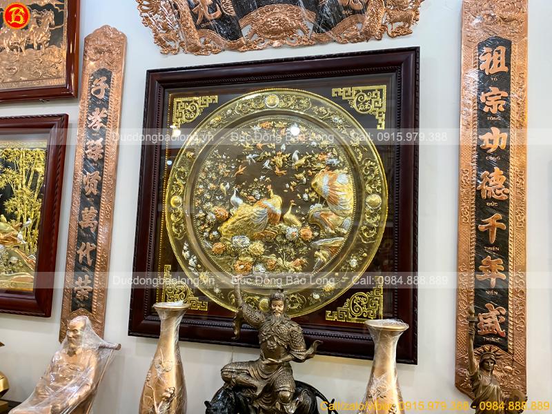 Tranh Phu Thê Viên Mãn Khổ Vuông 1m33 Mạ Vàng Dát Bạc