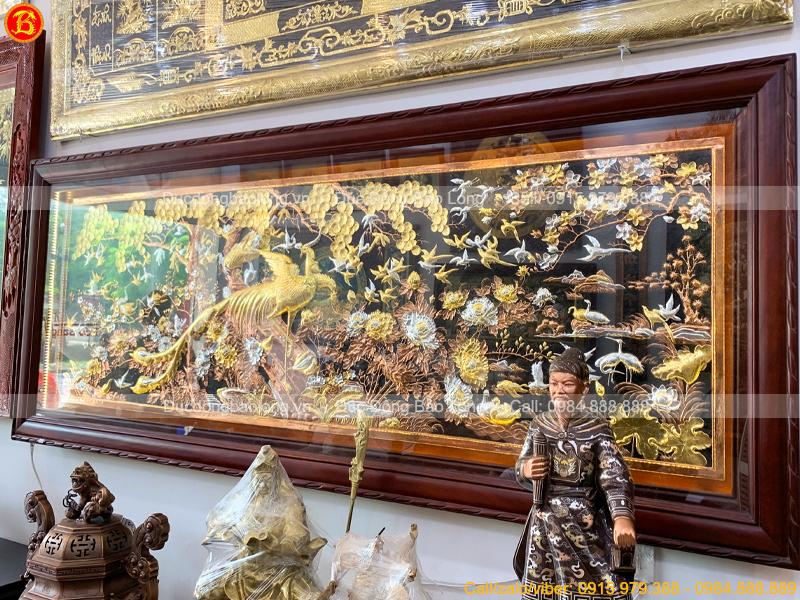 tranh phượng hoàn du xuân mạ vàng dát bạc