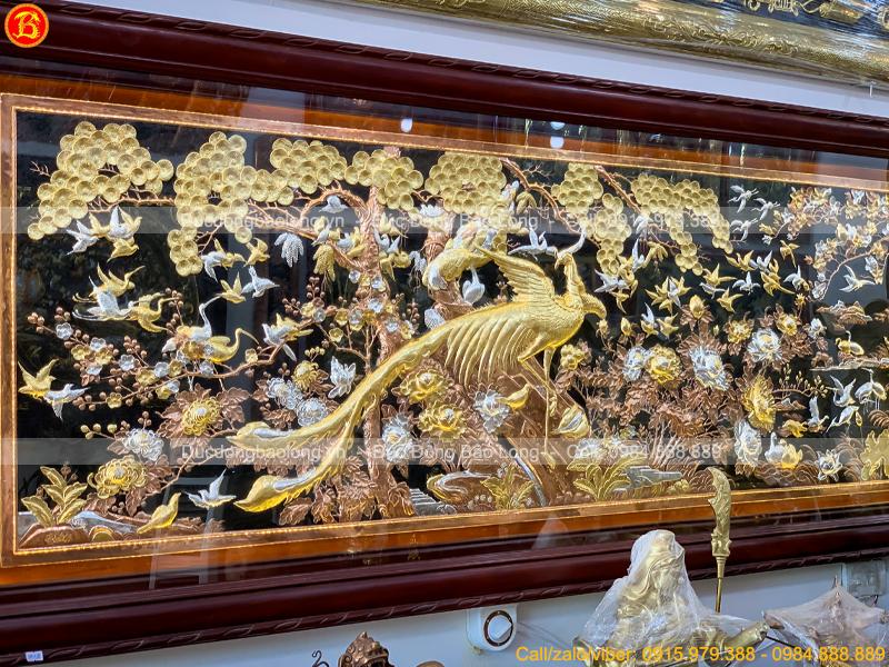 Tranh Phượng Hoàng Du Xuân 2m17 x 88cm Mạ Vàng Dát Bạc