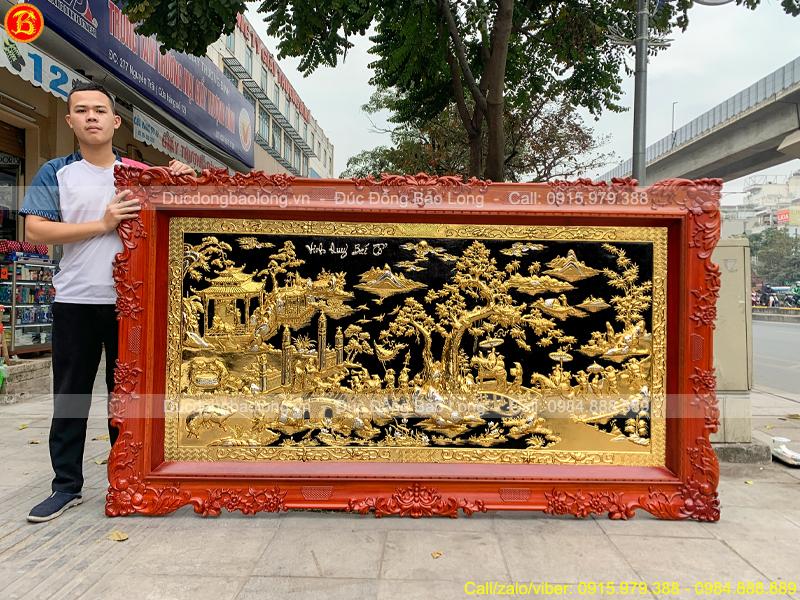 Tranh Vinh Quy Bái Tổ 2m37 x 1m33 Mạ Vàng Dát Bạc