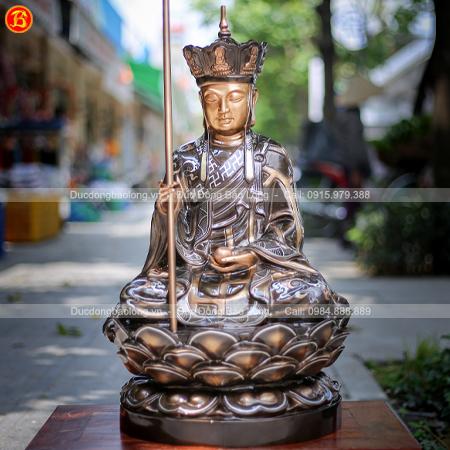 Tượng Địa Tạng Bồ Tát Bằng Đồng Khảm Tam Khí Cao 69cm