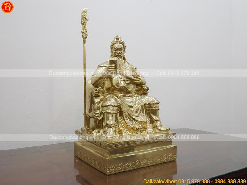 Tượng Quan Công ngồi đọc sách 65cm bằng đồng Catut