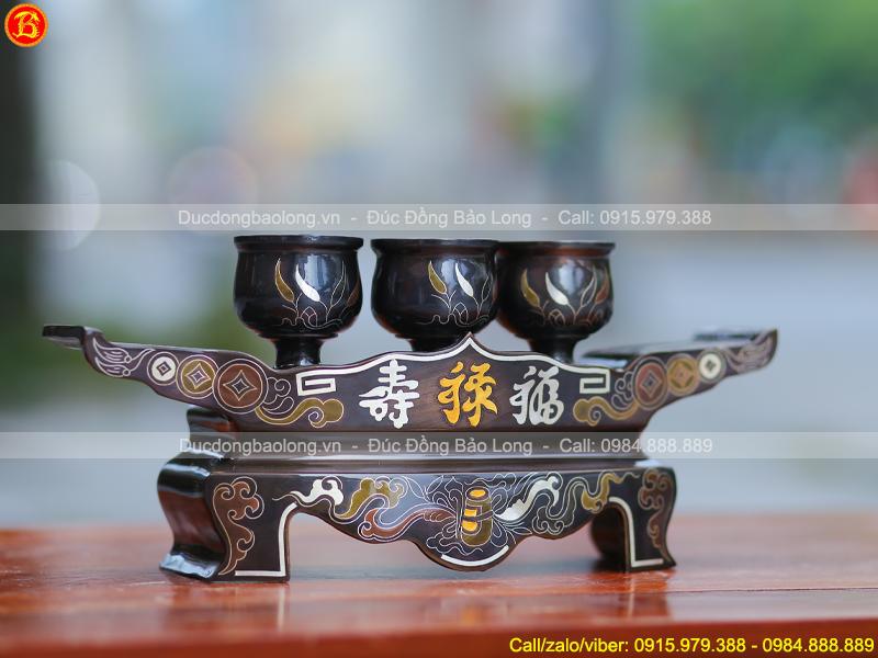 bộ Ngai chén 3 chiếc khảm Ngũ sắc