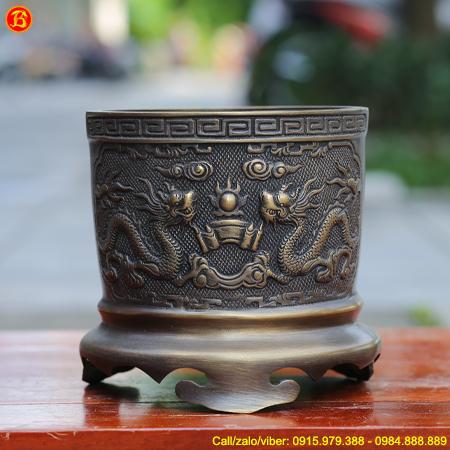 Bát Hương Rồng Chầu Bằng Đồng Thau 16cm Hun Giả Cổ