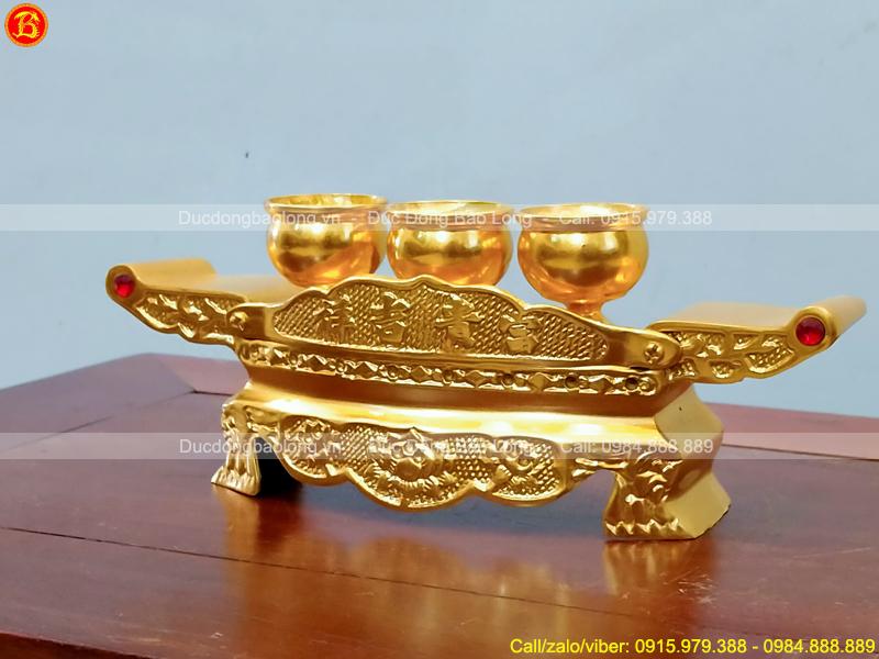 Bộ Khay 3 Chén Thờ Bằng Đồng Dát Vàng 9999 Cao Cấp