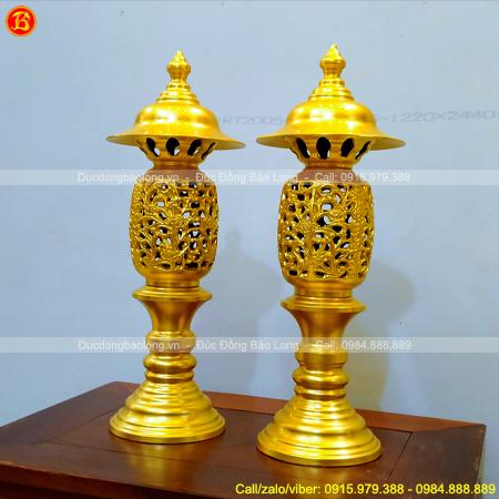 Đôi Đèn Thờ Quả Dứa 36cm Bằng Đồng Dát Vàng 9999