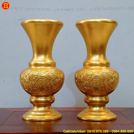 Đôi Lọ Hoa Cúc Thờ Cao 30cm Bằng Đồng Dát Vàng 9999