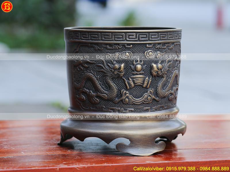 Bát hương Rồng chầu bằng đồng thau 16cm