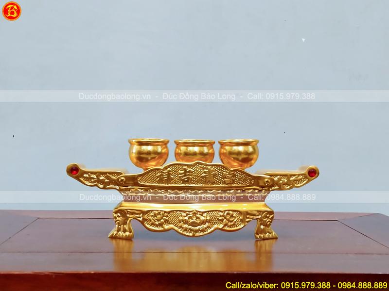 bộ Khay 3 chén thờ bằng đồng dát vàng