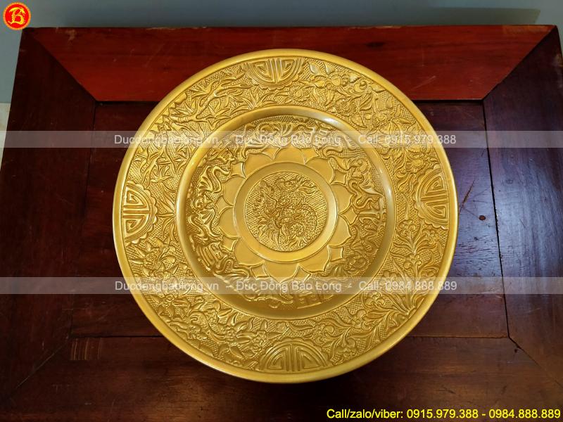 Đĩa Đựng Hoa Quả Thờ Đk 25cm Bằng Đồng Dát Vàng