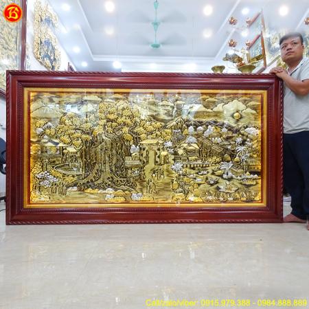 Tranh Đồng Quê Nền Xước 2m3 x 1m2 Hoa Văn Tô Màu