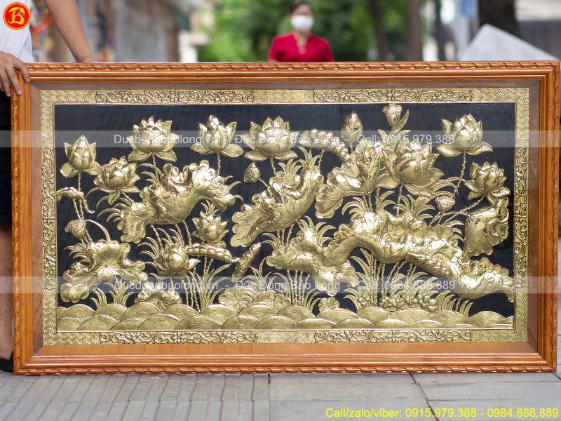 Tranh Hoa Sen Bằng Đồng 1m55 x 88cm Khung Gỗ Gõ