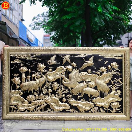 Tranh Sen Hạc 2m35 x 1m35 Khung Liền Đồng Cao Cấp