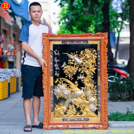 Tranh Vinh Hoa Phú Quý 86cm x 1m27 Dát Vàng Dát Bạc