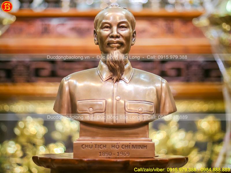 tượng Bác Hồ bán thân 30cm bằng đồng đỏ