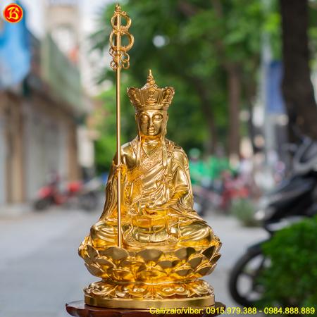 Tượng Địa Tạng Vương Bồ Tát cao 48cm Dát Vàng 9999