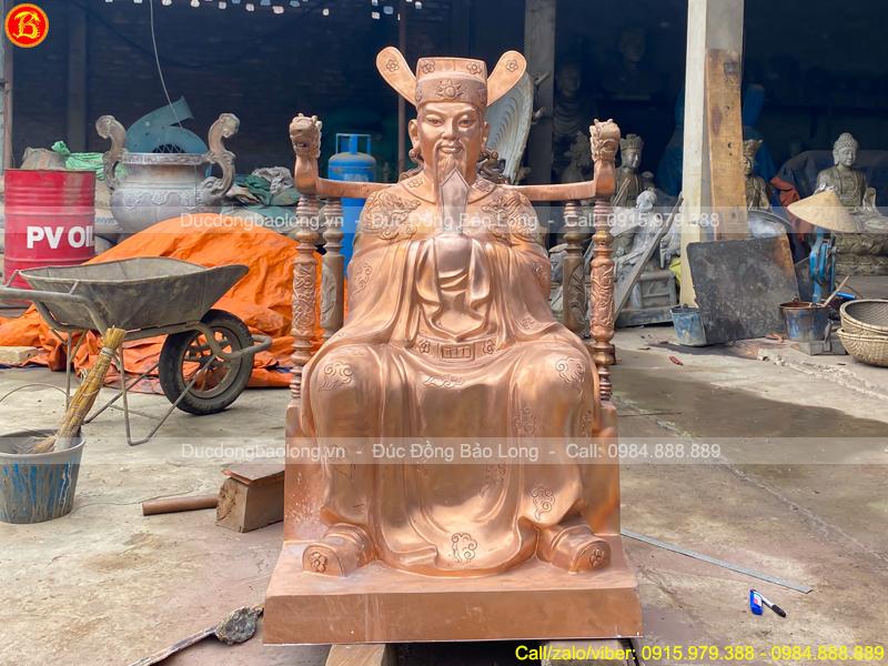 tượng Ngọc Hoàng 1m08 chạm hoa văn