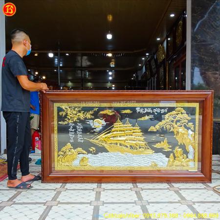 Tranh Thuận Buồm Xuôi Gió Mạ Vàng Dát Bạc 1m97