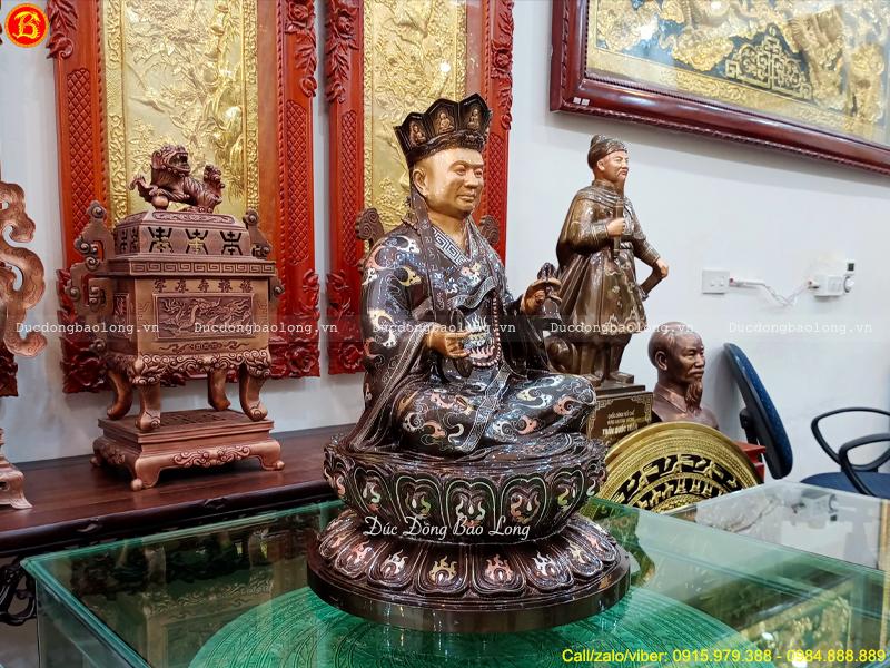 Đúc Tượng Hòa Thượng Bằng Đồng Khảm Tam Khí 48cm
