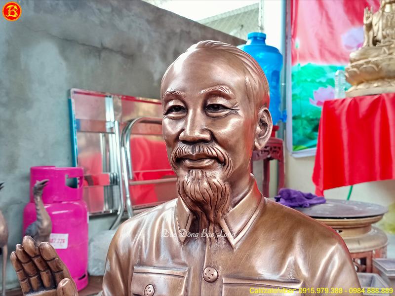 Tượng Bác Hồ Ngồi Tòa Sen 69cm Bằng Đồng Đỏ Giả Cổ