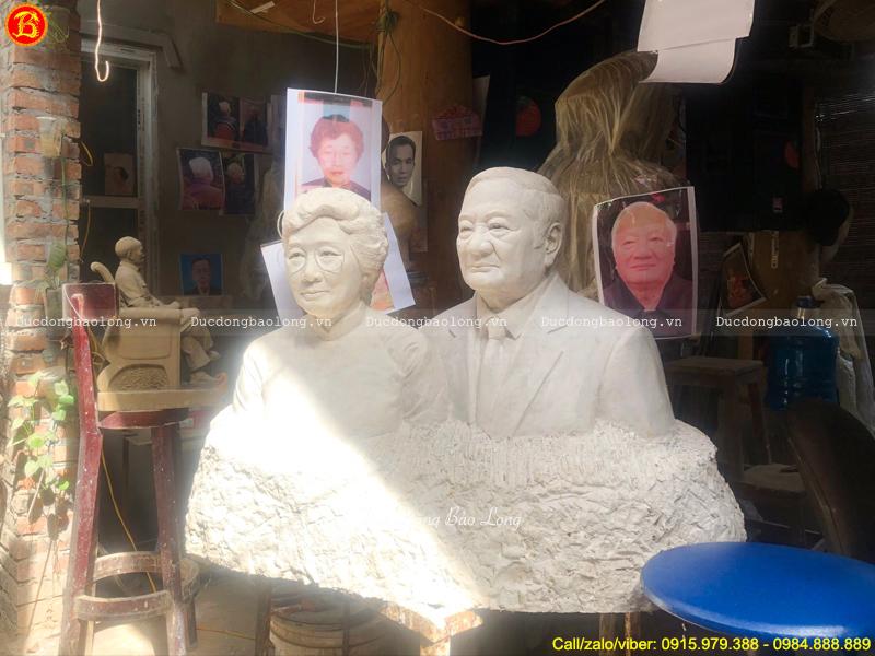 tượng Chân dung ông bà liền khối 69cm