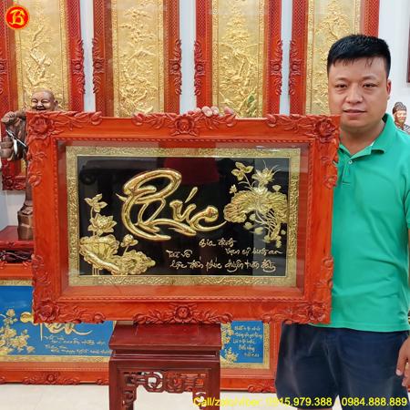 Tranh Chữ Phúc Thư Pháp 86cm x 61cm Khung Gỗ Hương