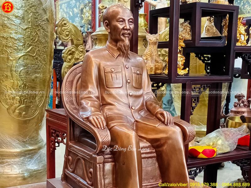 Tượng Bác Hồ Ngồi Ghế Bành 48cm Bằng Đồng Đỏ Giả Cổ