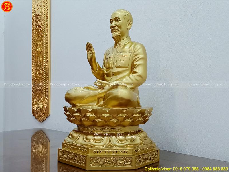 Tượng Bác Hồ Ngồi Tòa Sen Cao 61cm Bằng Đồng Đỏ