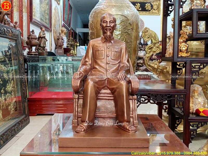 tượng Bác Hồ ngồi ghế bành 48cm bằng đồng đỏ