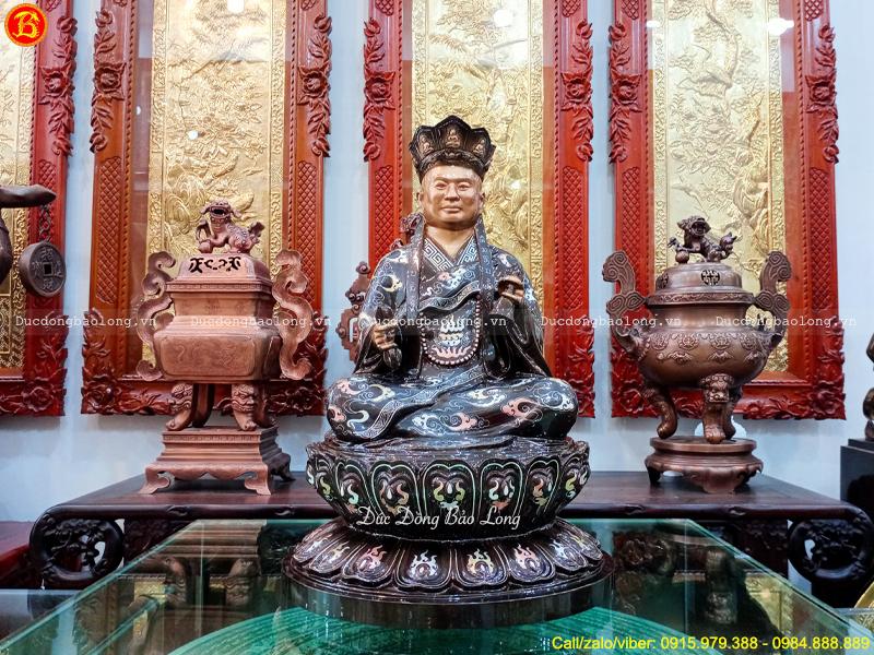 tượng Hòa thượng bằng đồng khảm Tam khí